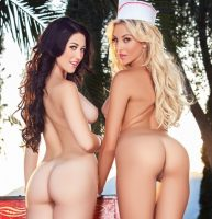 Khloe Terae & Stefanie Knight eating ice cream in Slick Ice