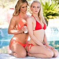 Cherie DeVille & Alli Rae lesbian sex outdoors at poolside
