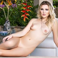Kash Jones naked at poolside in Love Lounge
